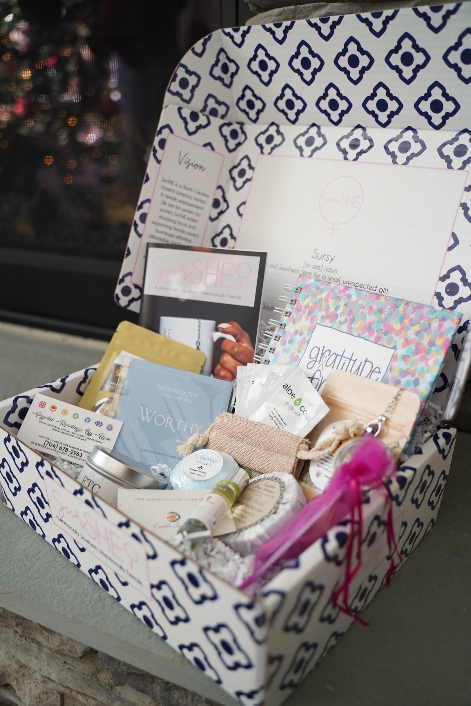 The Goddess Box Surshe. Every Goddess Box is filled with products thoughtfully and ethically made by a female entrepreneur whose vision aligns with ours.