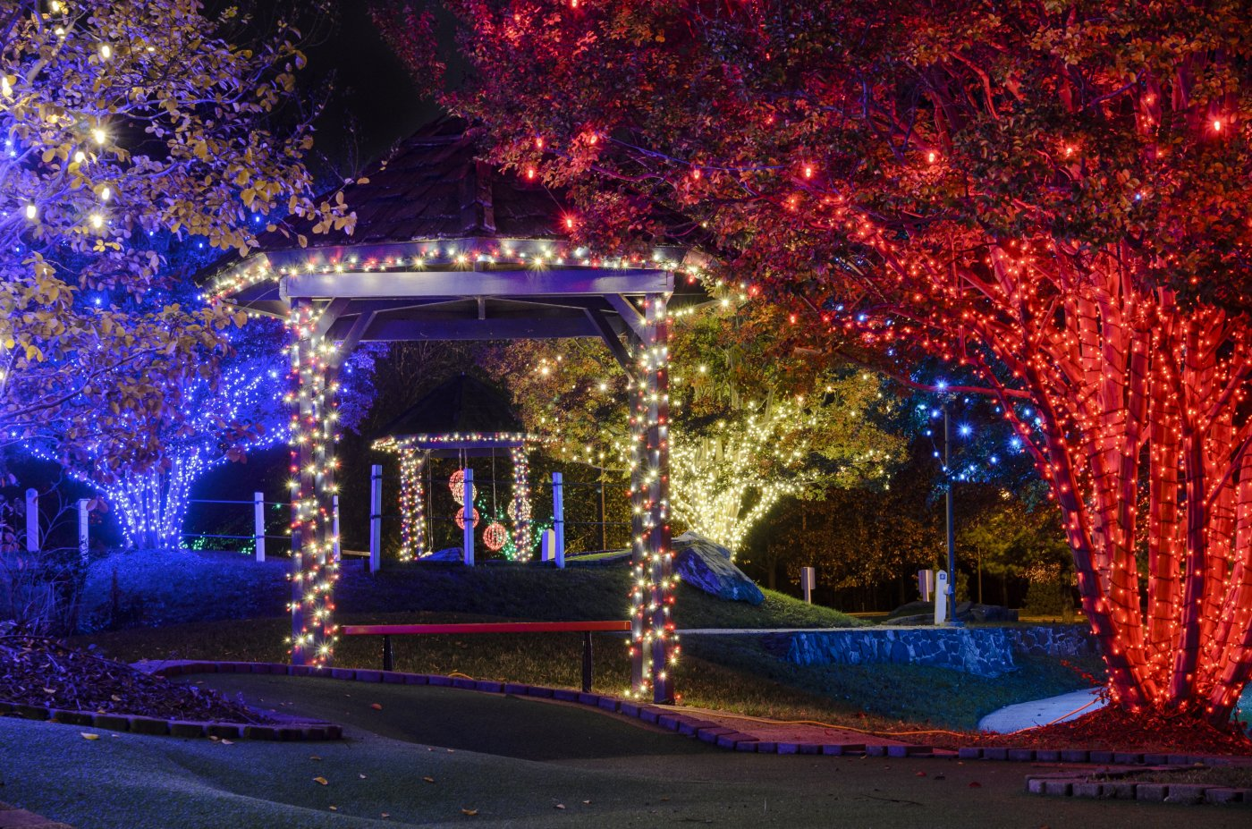 Glide across the ice at Ice & Lights, The Winter Village at Cameron Run in Alexandria, Virginia. The waterpark will be transformed mid-November through February into a winter wonderland with an ice rink, beautifully lit photo ops, music and more!