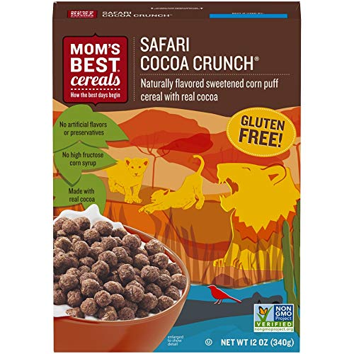 Mom's Best Safari Cocoa Crunch is naturally flavored, sweetened corn puffs that are made with real cocoa for a cereal that's delicious in a bowl with milk or straight out of the box.