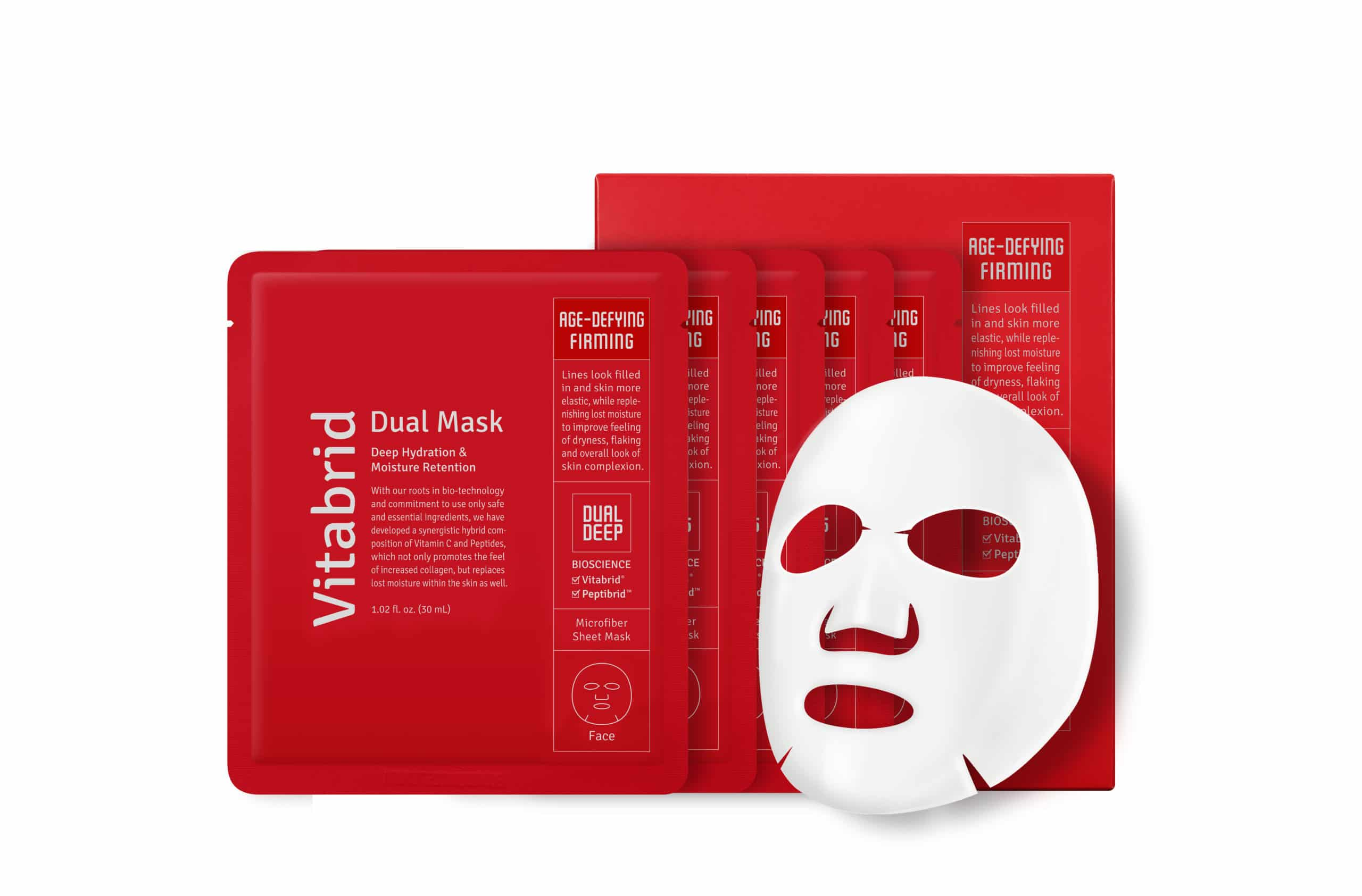 """. Vitabrid Dual Mask SetA box set featuring 5 masks, this is perfect for any one who needs some """"me"""" time at home. Each micro-sheet mask contains a synergistic hybrid composition of Vitamin C & Peptides to not only promote the feel of increased collagen (lines looked filled in!) but replace lost moisture as well. Skin is left feeling softer, smoother, and more hydrated."""