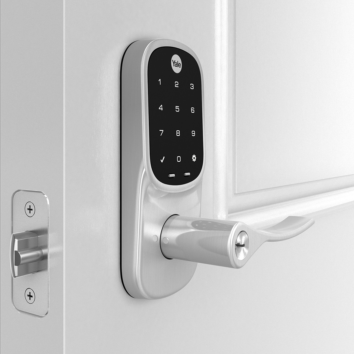 Assure Lever with Key. Upgrade your existing knob or lever with the Assure Lever and enjoy the convenience of unlocking and locking your door using the backlit touchscreen keypad; you'll never have to carry around your keys again.