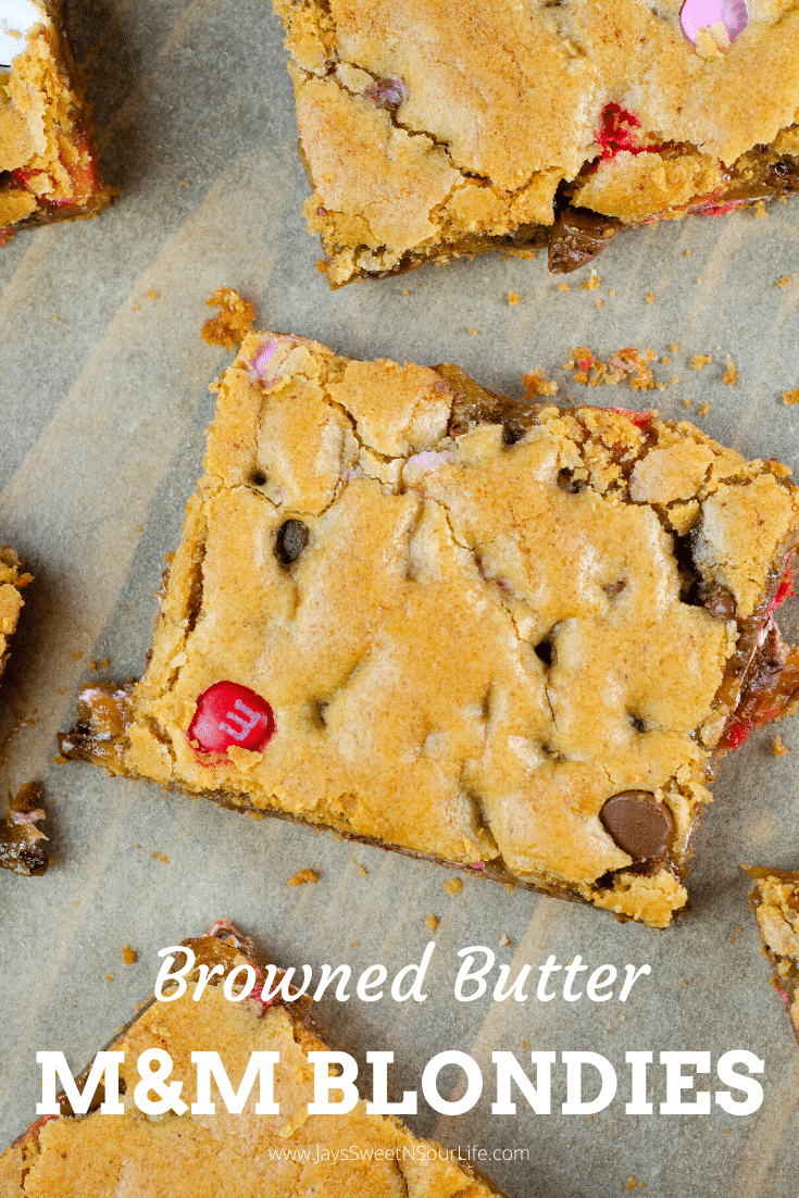 Browned Butter Chocolate Chip M&M Blondies. These Valentine's day themed Browned Butter M&M Blondies are the perfect way to say I heart you to someone special. I love to bake them for my little ones year-round. They are so chewy and chocolatey they make it easy for me to look like a master dessert chef