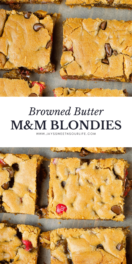 Browned Butter M&M Blondies. These Valentine's day themed Brown Butter M&M Blondies are the perfect way to say I heart you to someone special. I love to bake them for my little ones year-round. They are so chewy and chocolatey they make it easy for me to look like a master dessert chef.