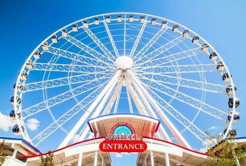 The Great Smoky Mountain Wheel sits at the center of The Island in Pigeon Forge, a new shopping, dining and entertainment destination at the heart of the city.
