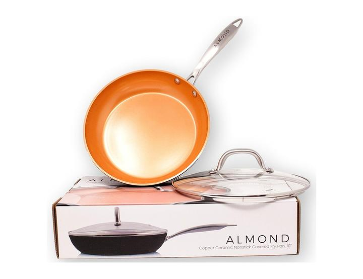 Almond Home 10 Inch Nonstick Copper Ceramic Frying Pan. Easily create delicious eggs, omelets, and recipes with Almond's exquisitely designed nonstick copper pans; oven safe to 420 F, you can cook evenly without food sticking. 2020 Valentine's Day Gift Guide from Jays Sweet N Sour Life Blog.
