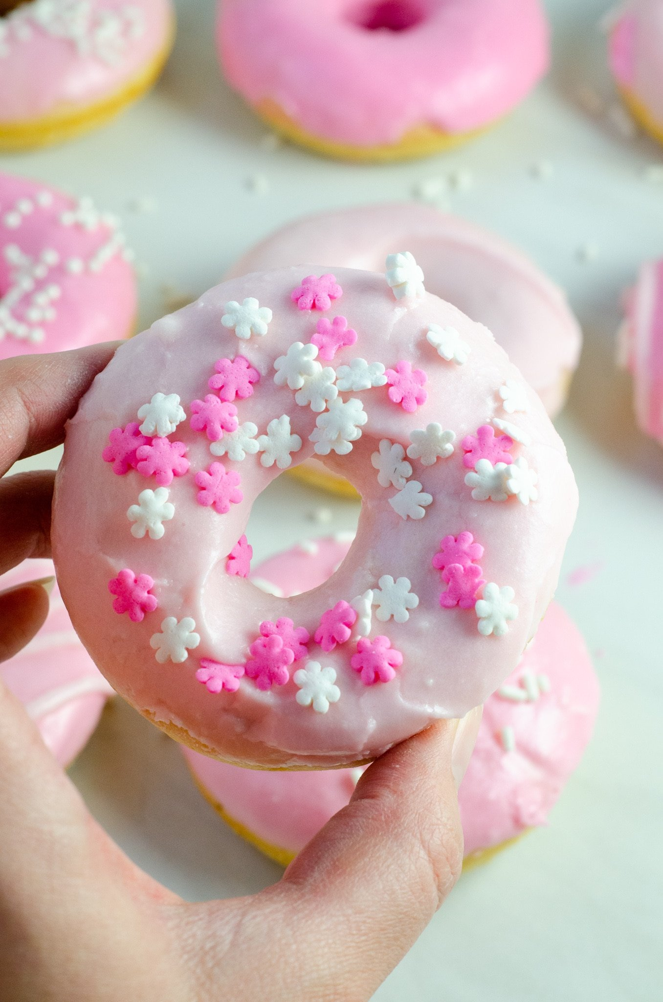 Baked Vanilla Donuts Sprinkles. Baked Vanilla Donuts are perfect for any occasion, Valentine's Day treats or birthday sweets, the possibilities are endless.
