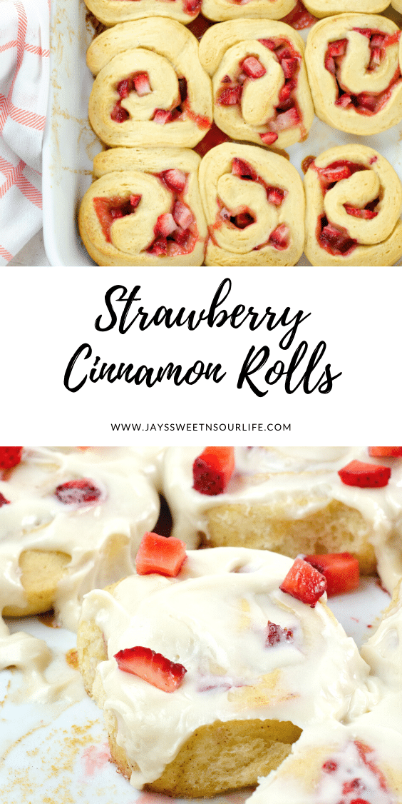 Strawberry Cinnamon Rolls Cream Cheese Icing. Freshly baked Strawberry Cinnamon Rolls with Cream Cheese Icing are a delicious breakfast, brunch or weekday treat. Homemade Cinnamon rolls and icing.