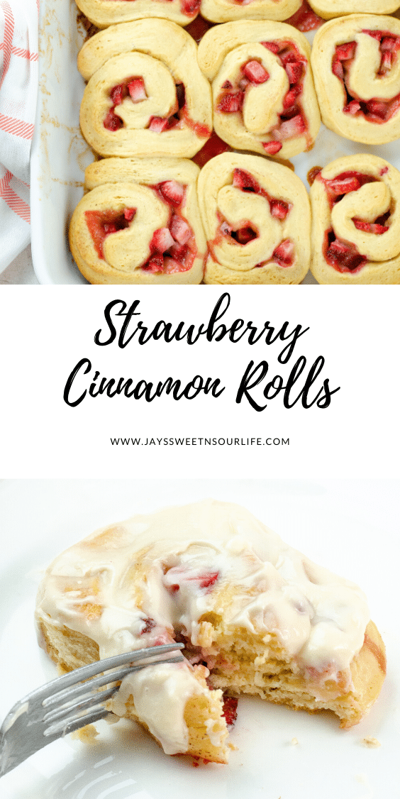 Strawberry Cinnamon Rolls with Cream Cheese Icing. Freshly baked Strawberry Cinnamon Rolls with Cream Cheese Icing are a delicious breakfast, brunch or weekday treat. Homemade Cinnamon rolls and icing.