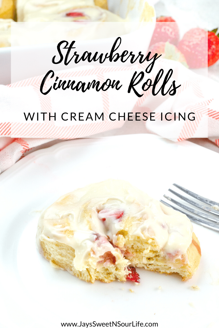 Strawberry Cinnamon Rolls. Freshly baked Strawberry Cinnamon Rolls with Cream Cheese Icing are a delicious breakfast, brunch or weekday treat. Homemade Cinnamon rolls and icing.