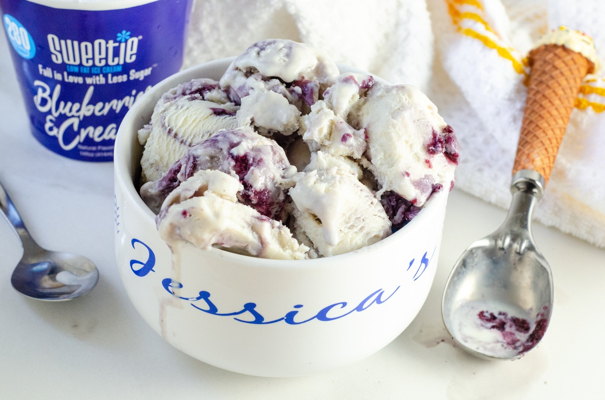 Sweetie Blueberry and Cream in Bowl. Sweetie® Ice cream boasts a wonderful ingredient called DOLCIA PRIMA Allulose, a non-artificial sweetening ingredient that has no unpleasant aftertaste, and provides all the taste, texture, and functionality of sugar with 90% fewer calories!