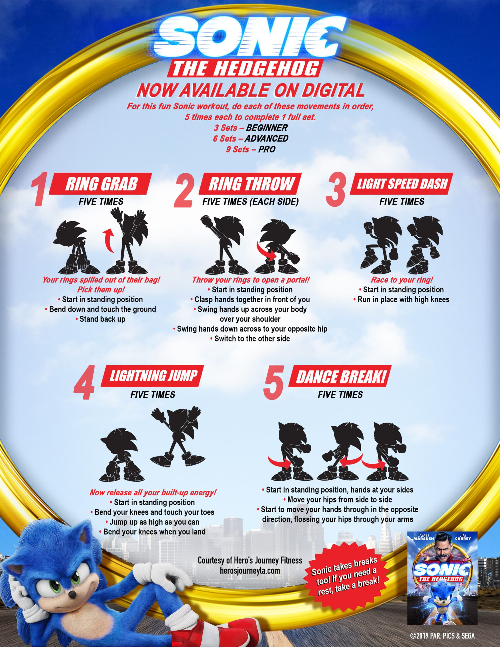 SONIC WORKOUT SHEET. Get ready for epic fun and super-sonic action when everyone's favorite hedgehog races home in the blockbuster hitSONIC THE HEDGEHOG. SONIC THE HEDGEHOGis now available on 4K Ultra HD, Blu-ray, DVD, Digital and for rental On Demand or disc fromParamount Home Entertainment.