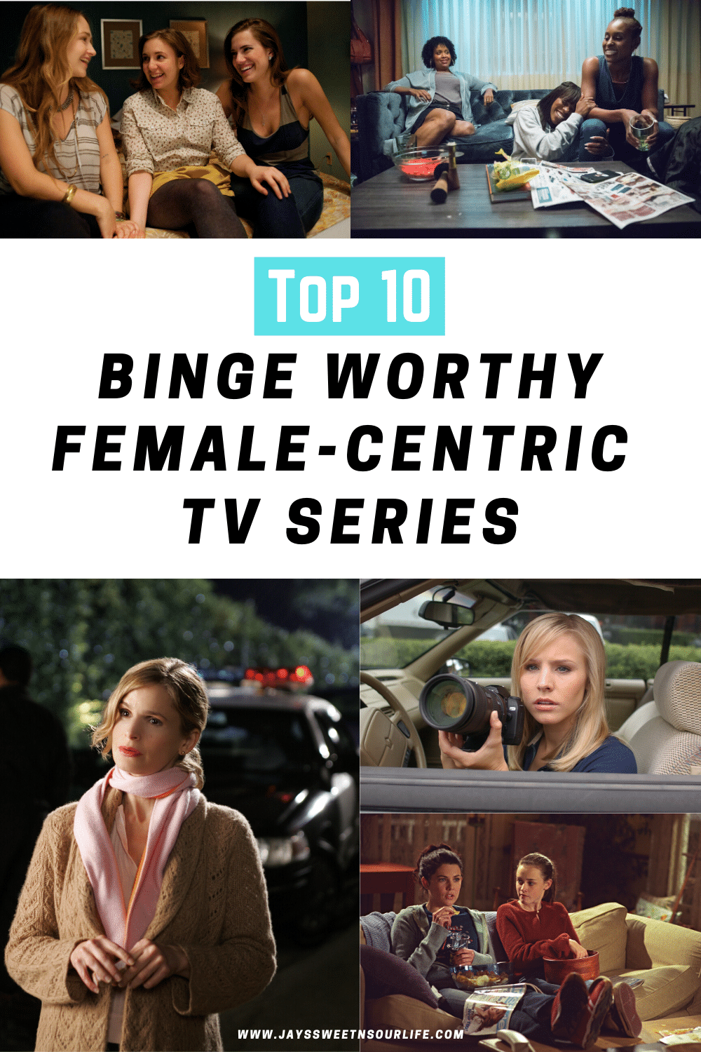 Top 10 Binge Worthy Female-Centric TV Series. Instead of getting down and out about having to shelter in place away from your girl squad, have a girls night in and get lost in these Top 10 binge worthy female-centric TV series that have strong female leads and will give you the girl-power you have been missing!