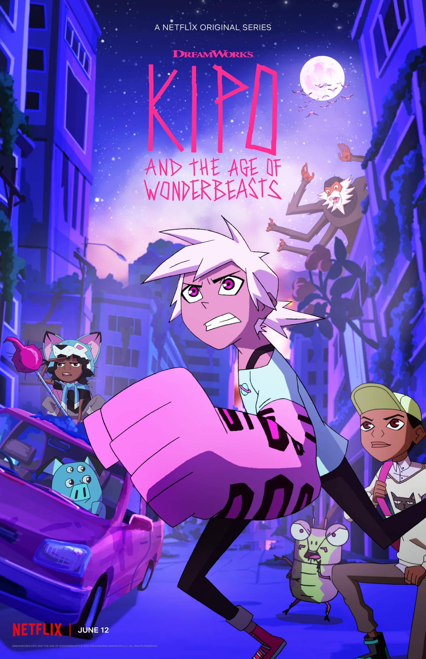 Kipo S2 Key Art. DreamWorks Kipo and The Age of Wonderbeasts will return to Netflix June 12, for a second season filled with adventures through the whimsical, weird post-apocalyptic world of Las Vistas.