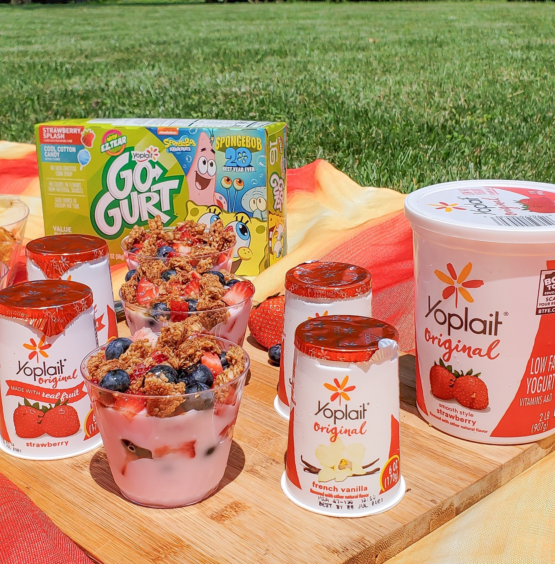 Backyard Picnic with Yoplait on Blanket. Grab your picnic baskets! It's time to host your very own backyard picnic featuring the foods your family loves. No need to leave home for this bunch of fun, just pick a date and then prep your picnic baskets.