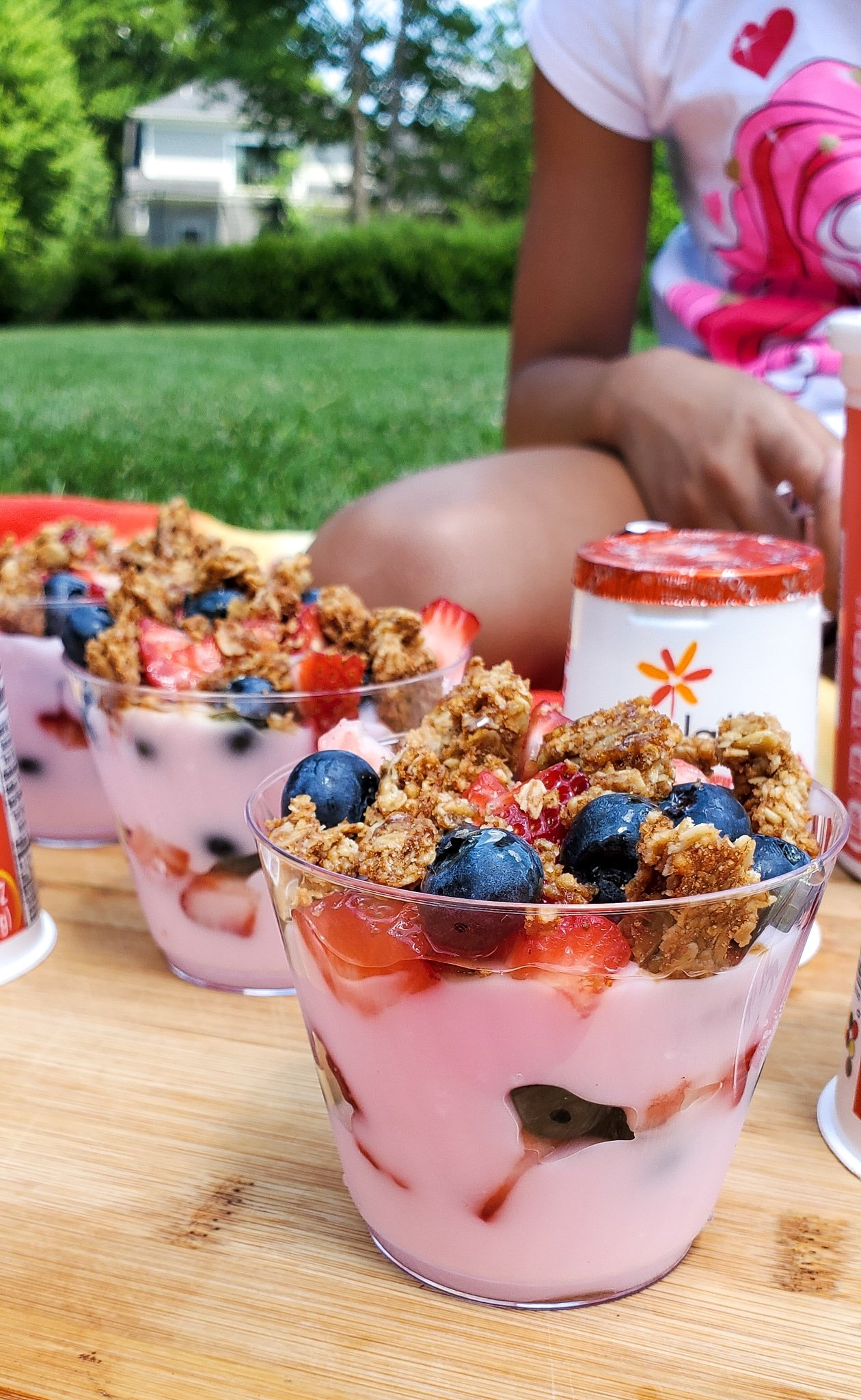 Backyard Picnic with Yoplait Parfaits. Grab your picnic baskets! It's time to host your very own backyard picnic featuring the foods your family loves. No need to leave home for this bunch of fun, just pick a date and then prep your picnic baskets.
