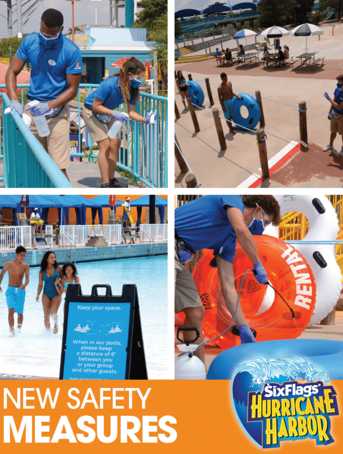 Social-Six Flags America Waterpark Reopening Safety. Six Flags America is welcoming back their guests starting Friday, July 3. With new safety measures, hygiene protocols and new technology systems to protect their guests and employees, they plan to open Hurricane Harbor for the summer crowd..