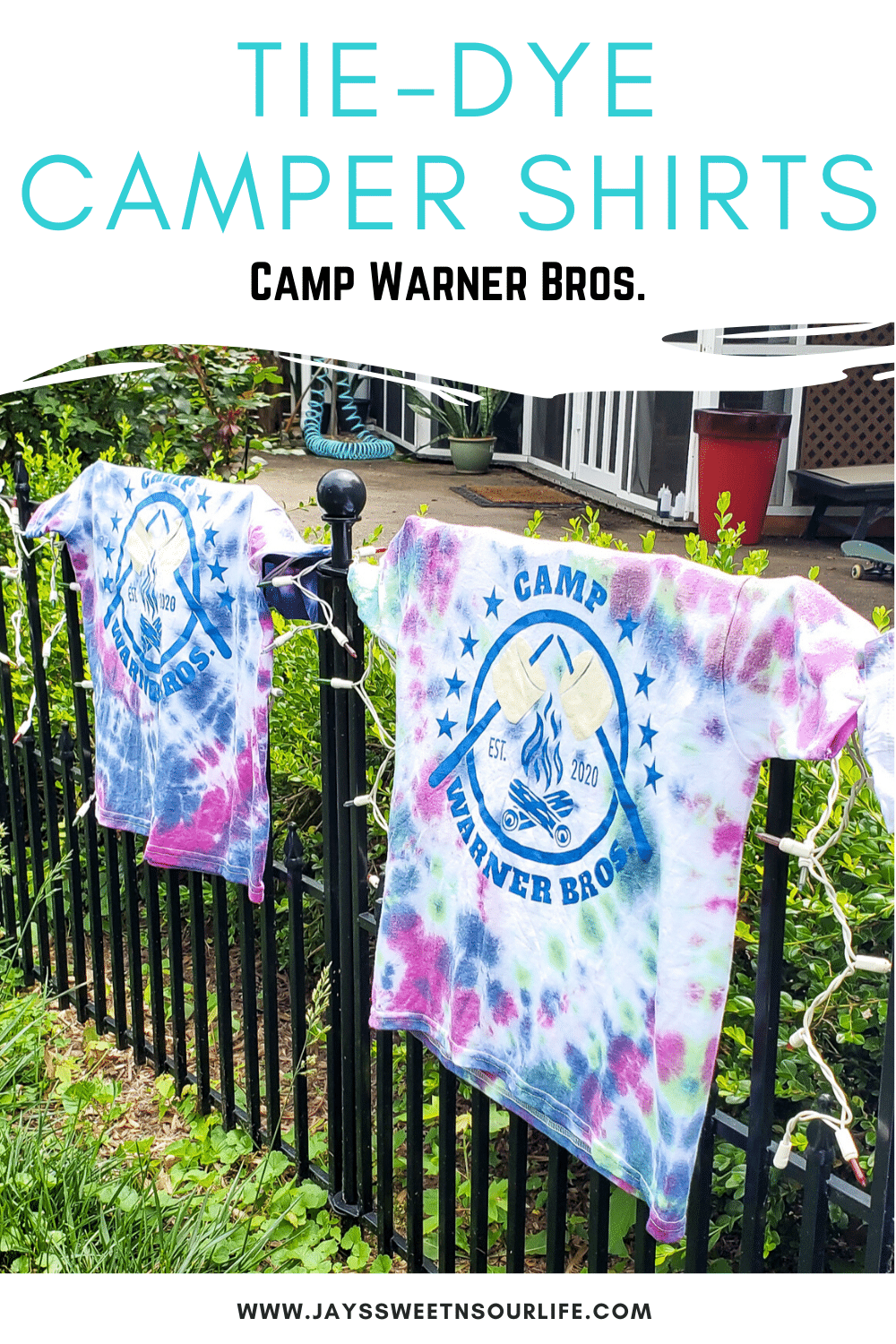 Tie-Dye Camper Shirts Camp Warner Bros. Join us as we adventure through 8 weeks of Virtual Camp Warner Bros. Each week will feature a new fun family friendly activity and a Warner Bros. Show or Movie. This week featured a Camper Shirt Tie-Dye activity.