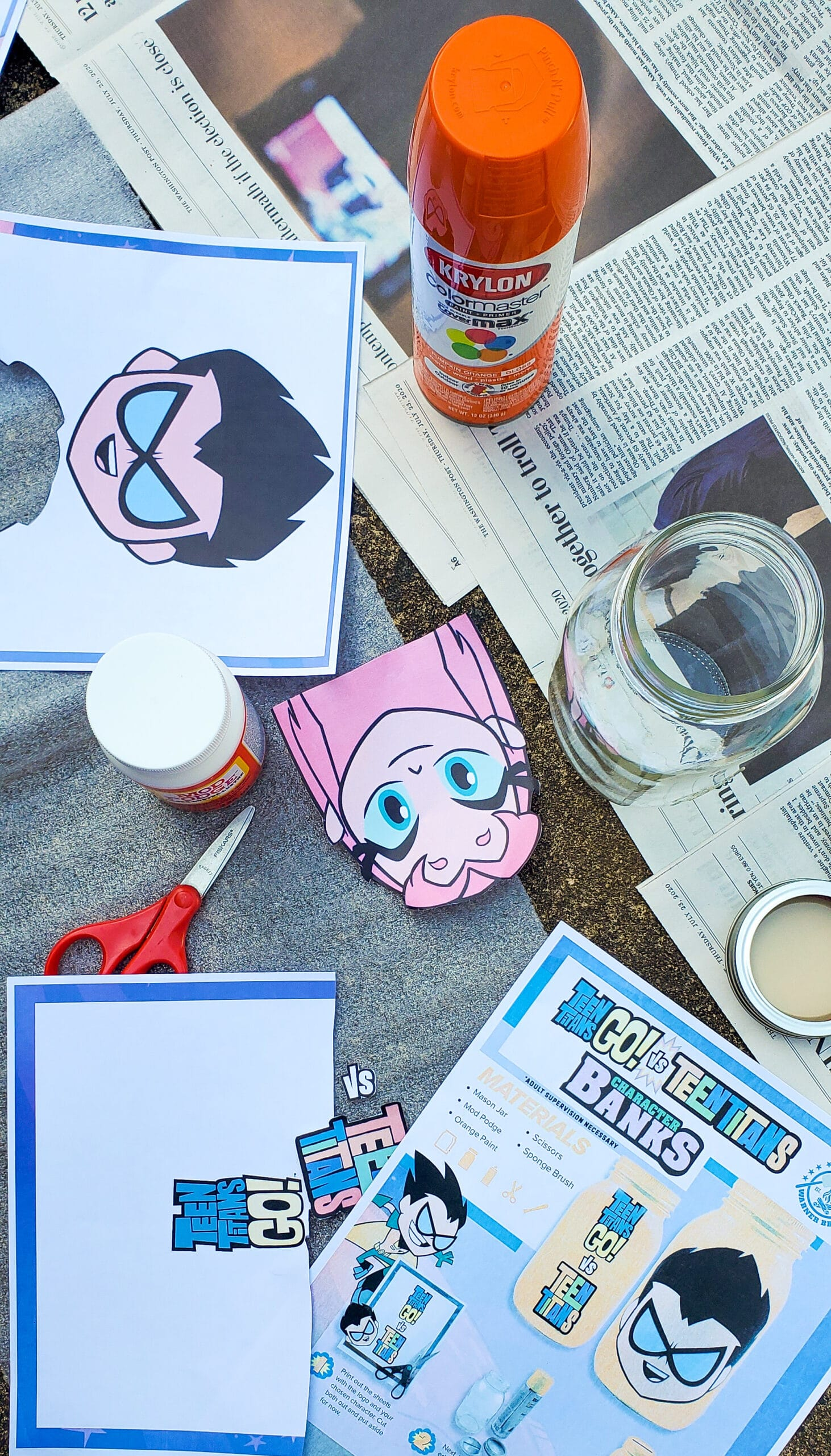 Teen Titans Go!Character Banks Supplies. It's week 5 at Camp Warner Bros.! It's time to get crafty with this week's activity Teen Titans Go! Vs. Teen Titans Character Banks. Grab your printables on my blog, along with some more supplies to create your very own Teen Titans Go! vs Teen Titans Character Banks.