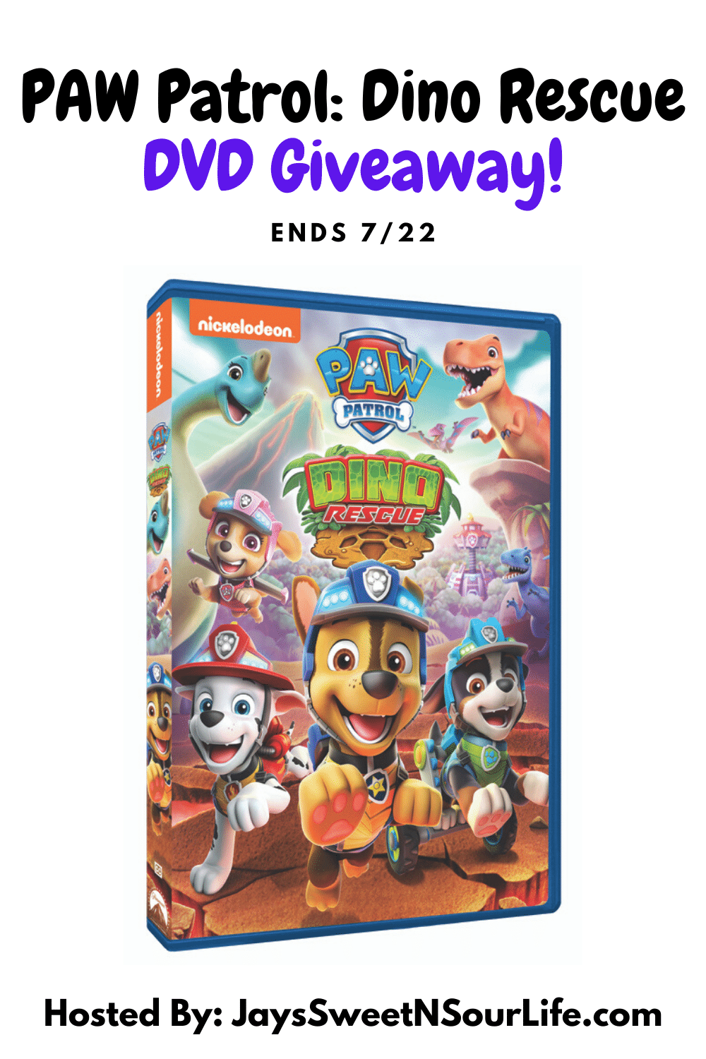 PAW Patrol Dino Rescue DVD Giveaway! ROAR into a prehistoric land with the PAW Patrol in these six dino-mite tales, including two double-length missions. Join the pups as they roll into Dino Wilds to keep their new friends safe from an erupting volcano and a scheming dino egg thief. Then, the team gears up for a robotic dinosaur adventure. Enter to win your very own PAW Patrol Dino Rescue DVD! Giveaway Ends 7/22