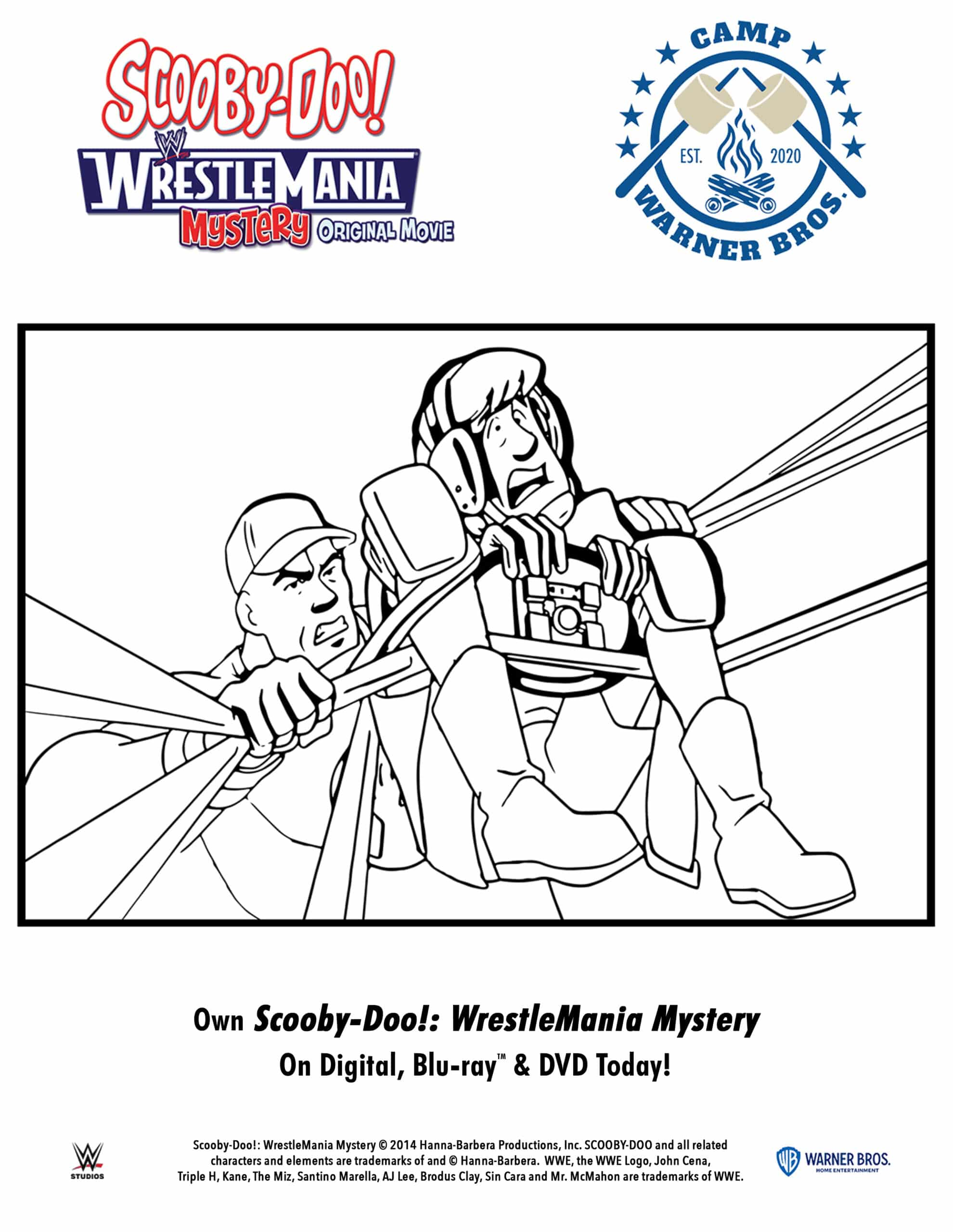 Scooby-Doo!: WrestleMania Mystery Coloring pages. When Shaggy and Scooby win tickets to WrestleMania®, they convince the entire Mystery Inc. gang to travel to WWE City in the Mystery Machine to enjoy the show. Scooby-Doo!: WrestleMania Mystery is now available to own on Digital, Blu-ray & DVD