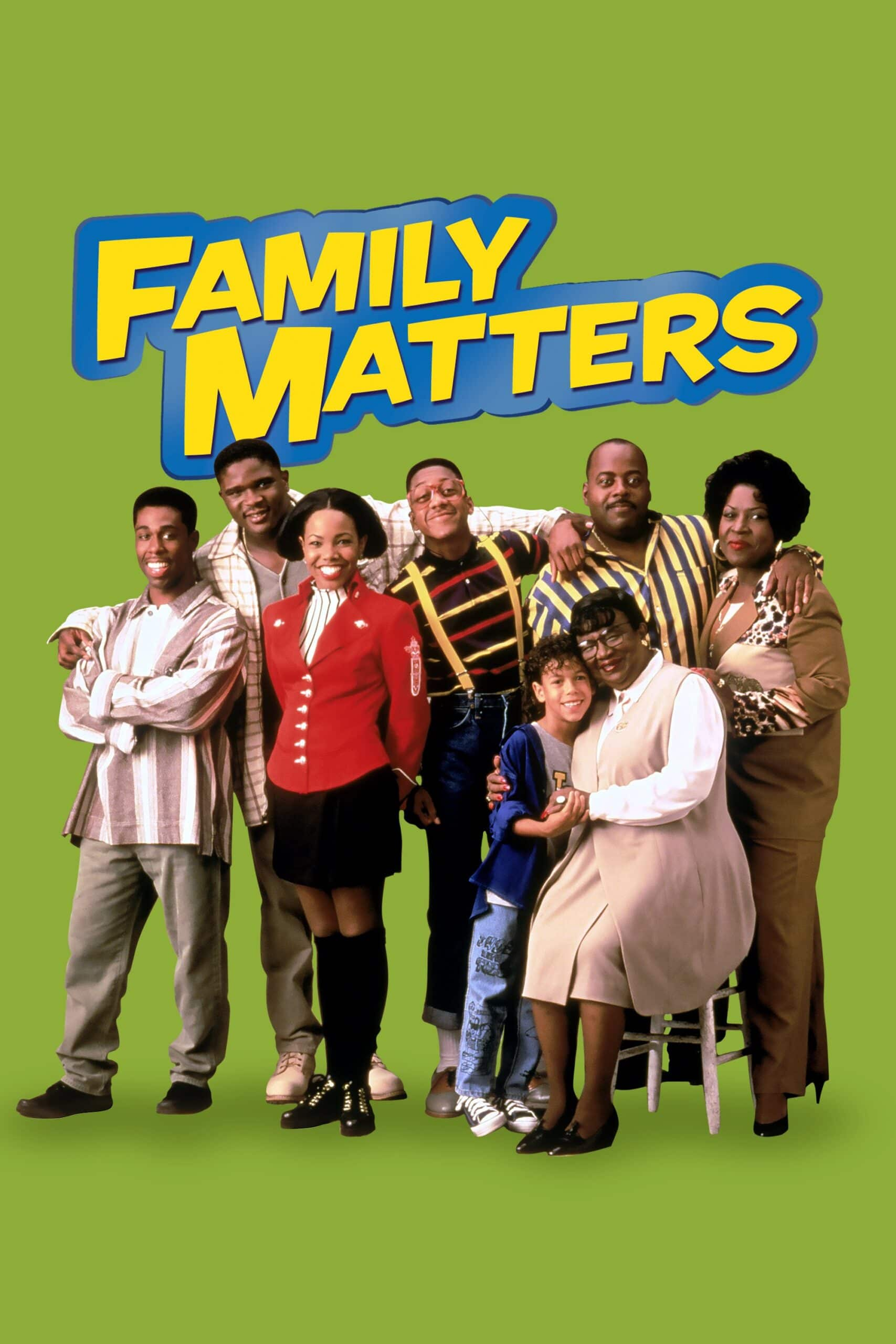 """Family Matters Complete Series Digital Keyart. What matters most? Family, of course! Over its nine hit seasons,Family Matters brings us a hilarious slice of middle-class Americana along with one of TV's wackiest characters, nerdy genius Steve Urkel. The extended Winslow family redefines the word """"togetherness"""" as their home splits at the seams with chaos, confusion, and laughter."""