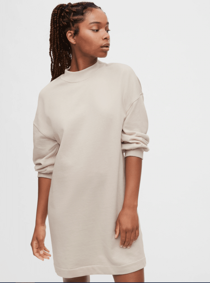 GAP Fall Faves Fleece Crewneck T-Shirt Dress. The Fleece Crewneck T-Shirt Dress offers a french terry knit material with long sleeves and band collar. Dress it up for a night out on the town with some heels, or keep it casual and pair it with sneakers. This versatile dress is perfect for any occasion.