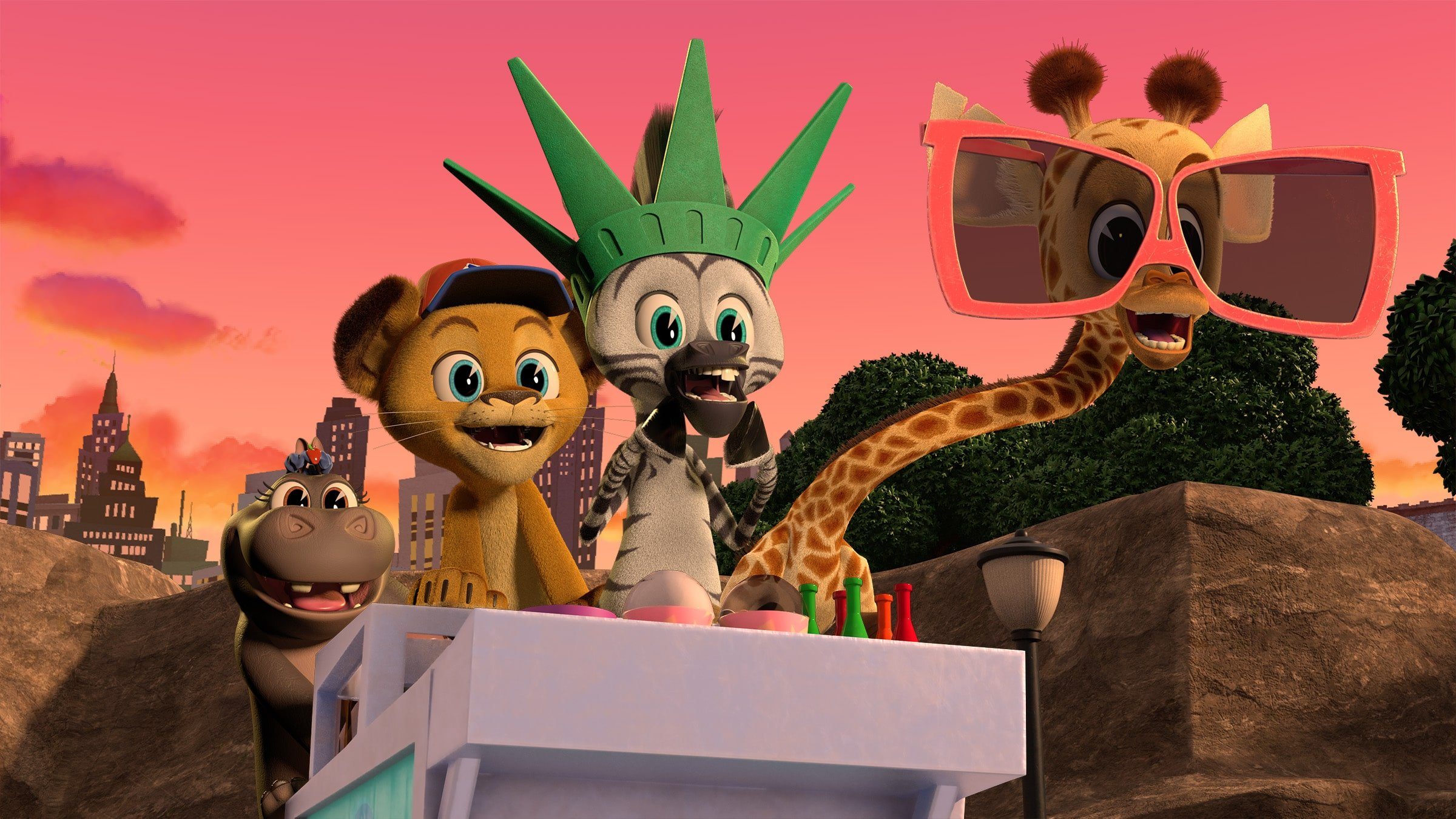 Madagascar A Little Wild Gloria, Alex, Marty, Melman. Filled with original music and dance-worthy songs, the lovable foursome Alex the Lion, Marty the Zebra, Melman the Giraffe, and Gloria the Hippo steal the show in Madagascar: A Little Wild. Capturing the iconic personalities of the four dynamos,Madagascar: A Little Wildshowcases the team as kids residing in their rescue habitat at the Central Park Zoo.