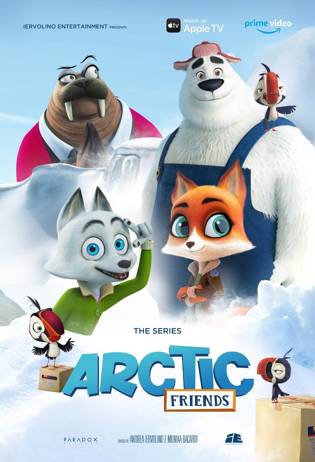 "Arctic Friends Poster. Artic Friends, based on the popular animated film, ""Arctic Dogs,"" is now available to stream on Apple TV and Amazon Prime Video! The original hit film Artic Dogs was released theatrically in 2019 and went on to become one of the top-rated animated films on Netflix."