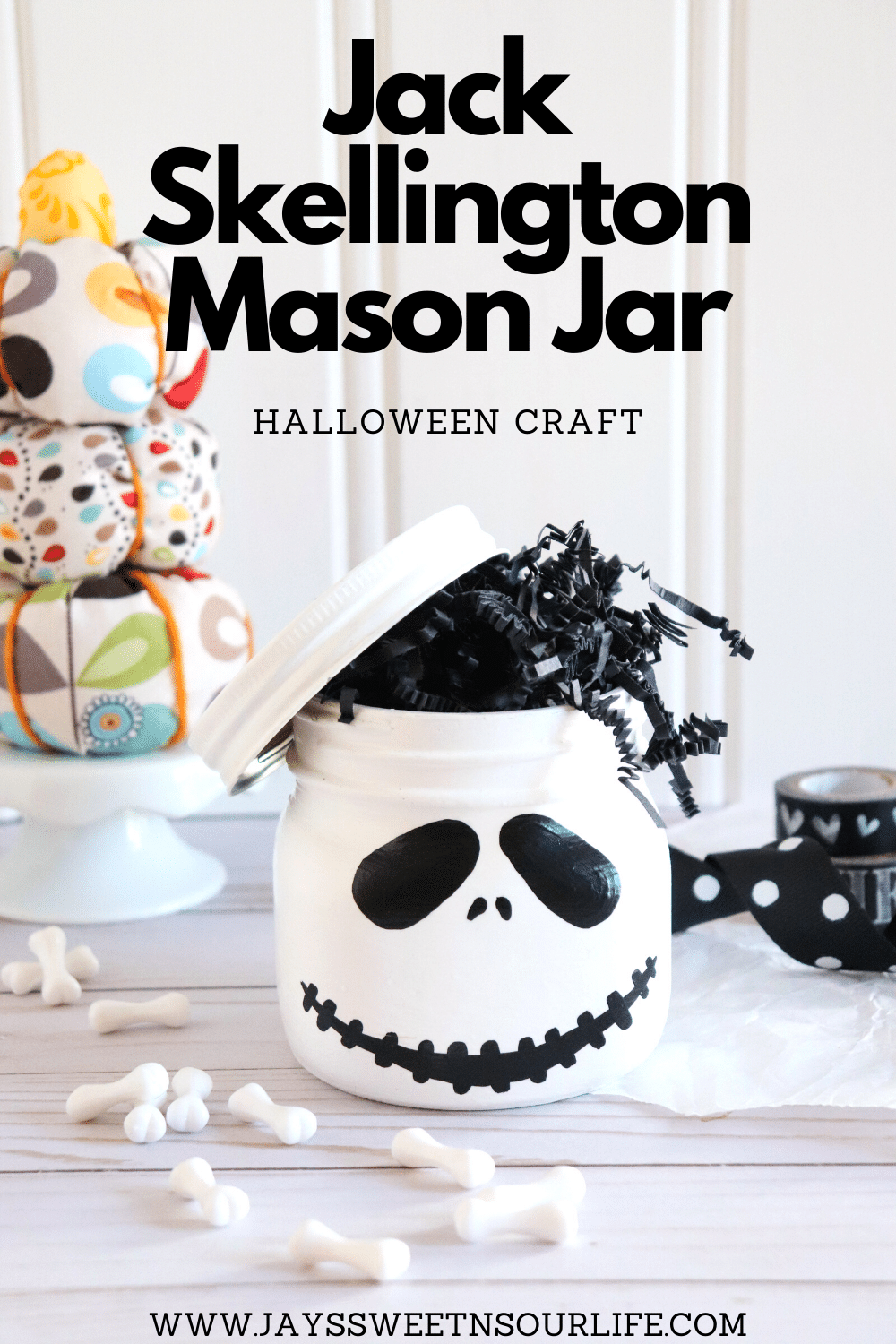 Jack Skellington Mason Jar Craft. This Jack Skellington Mason Jar Halloween Craft is the perfect way to creep your way into the Halloween season. Fill it with your favorite candies and treats, it's the perfect Halloween Craft that you can keep or gift.