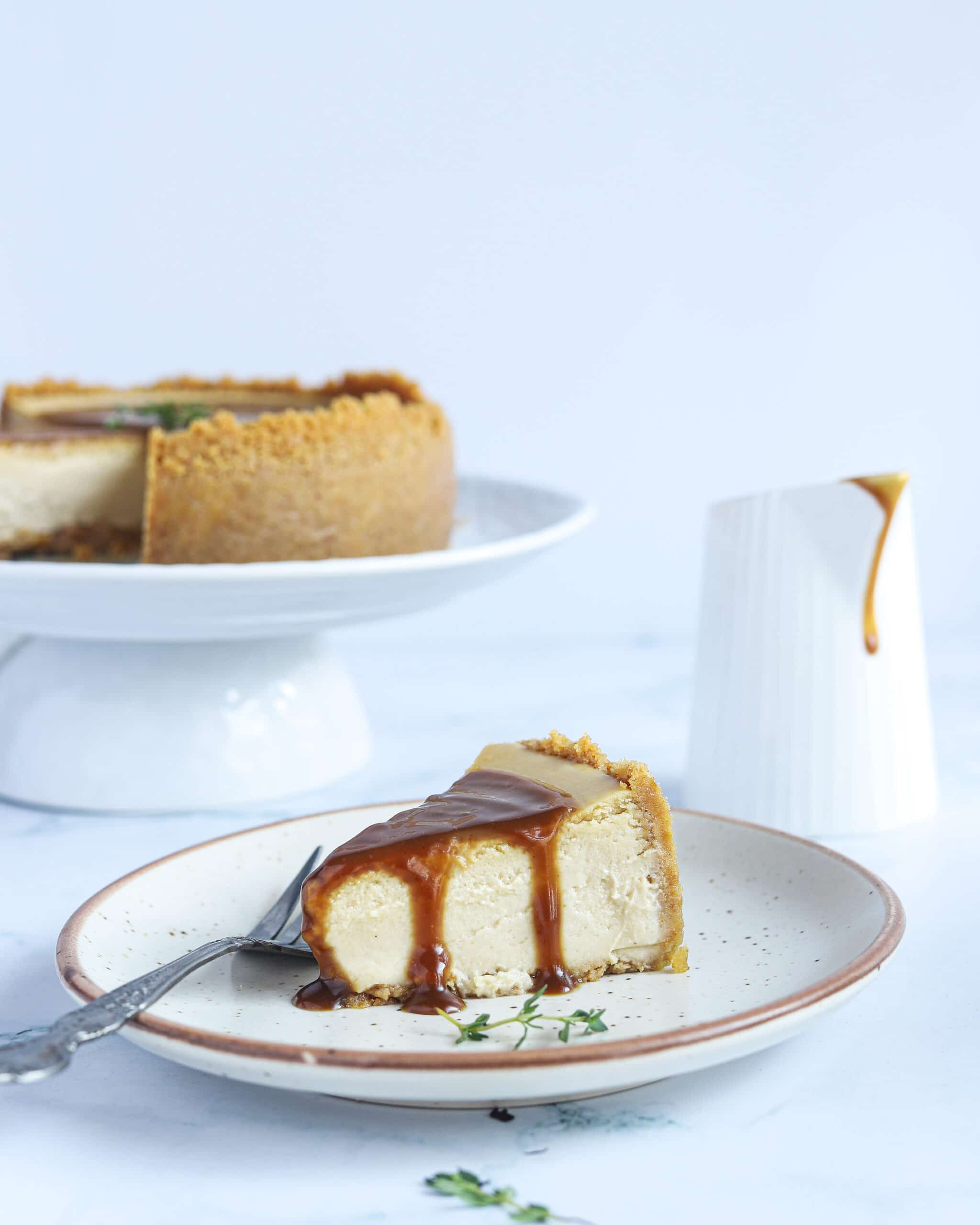 Earl Grey Cheesecake Plated. This Earl Grey Cheesecake is a holiday favorite dessert, with a creamy texture, and delicate flavor. It has an Earl Grey tea-infused cheesecake filling and a Biscoff buttery, crisp crust. This tea-infused cheesecake is the perfect dessert for any occasion.