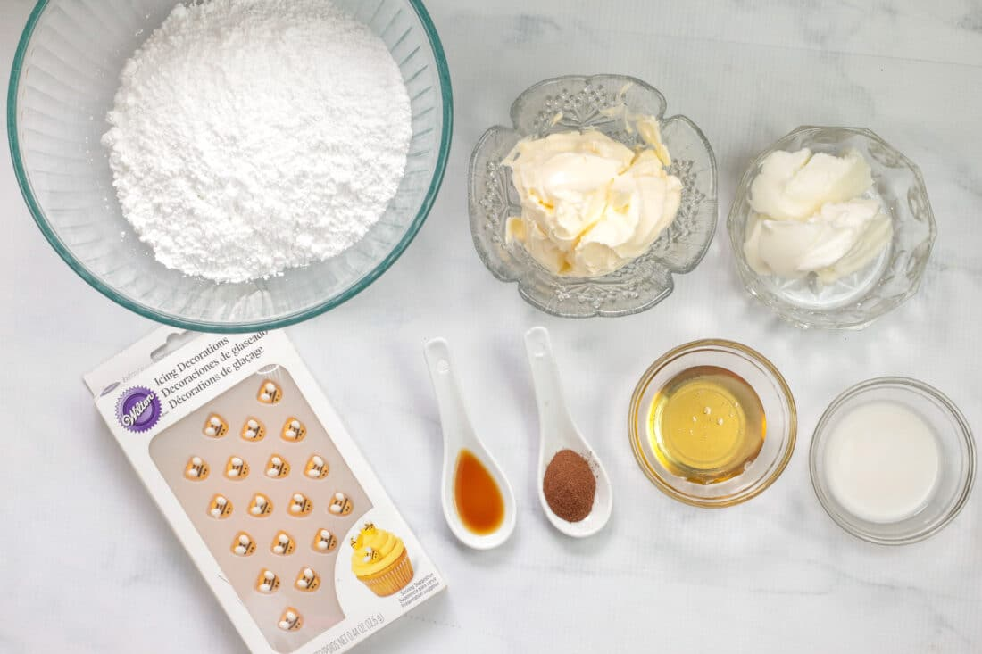 Honey Cinnamon Cupcakes Frosting Ingredients. These Bumblebee Honey Cupcakes with Honey Cream Cheese Frosting are insanely delicious. Made with a touch of honey and cinnamon, these bumblebee inspired cupcakes are almost too cute to eat.