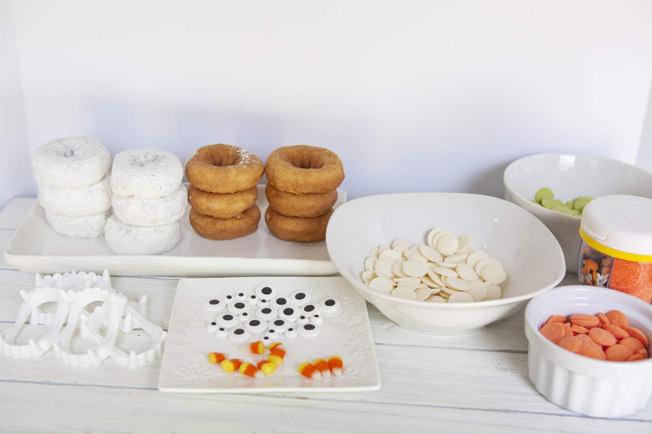 Monster Donuts Bar. Make these spooky cute Monster Donuts for your next Halloween event. Made with your favorite donuts as a base, you can create and decorate vampires, mummies, and other iconic edible Halloween monsters.