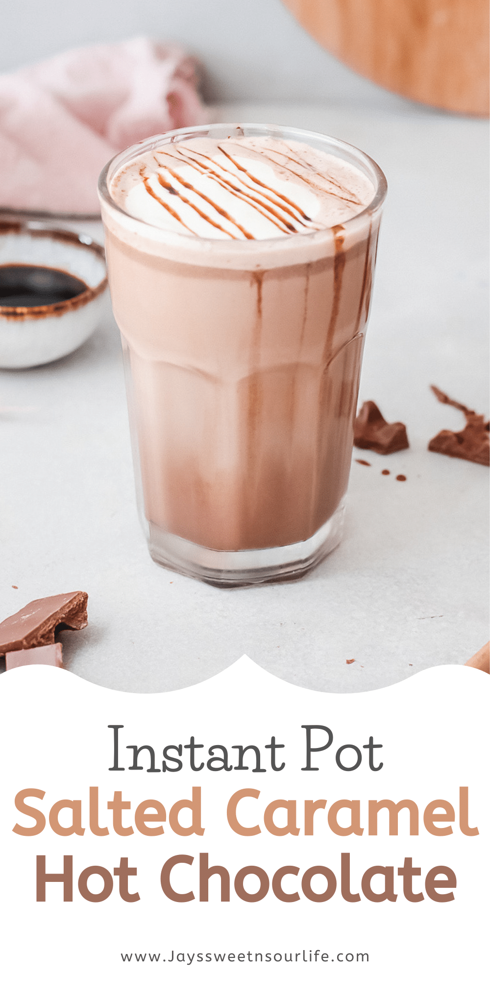 Instant Pot Salted Caramel Hot Chocolate Recipe. Silky smooth, creamy and decadent, this Instant Pot Salted Caramel Hot Chocolate is an instant family favorite. Made in either the Instant Pot or Slow Cooker this festive holiday drink is perfect for any occasion.