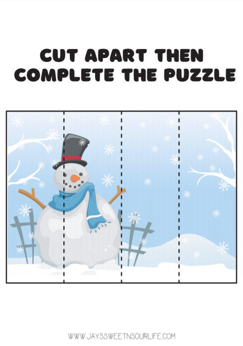 Snowman Activtites Pages Puzzle. Grab these Free Snowman Printables, filled with fun snowman themed activities, coloring sheets, and more! These Preschool Snowman Activities are a huge hit at any holiday event.