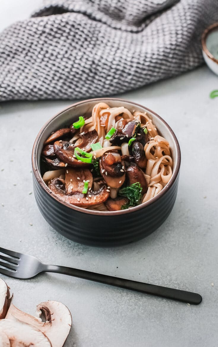 Easy Vegetarian Korean Noodle Recipe. This simple and easy Vegetarian Korean Noodles dish is full of flavor and can be made in under 30 minutes. The Korean noodles are stir-fried in a savory sauce made with fresh vegetables such as mushrooms, red onion, ginger, garlic, and kale.