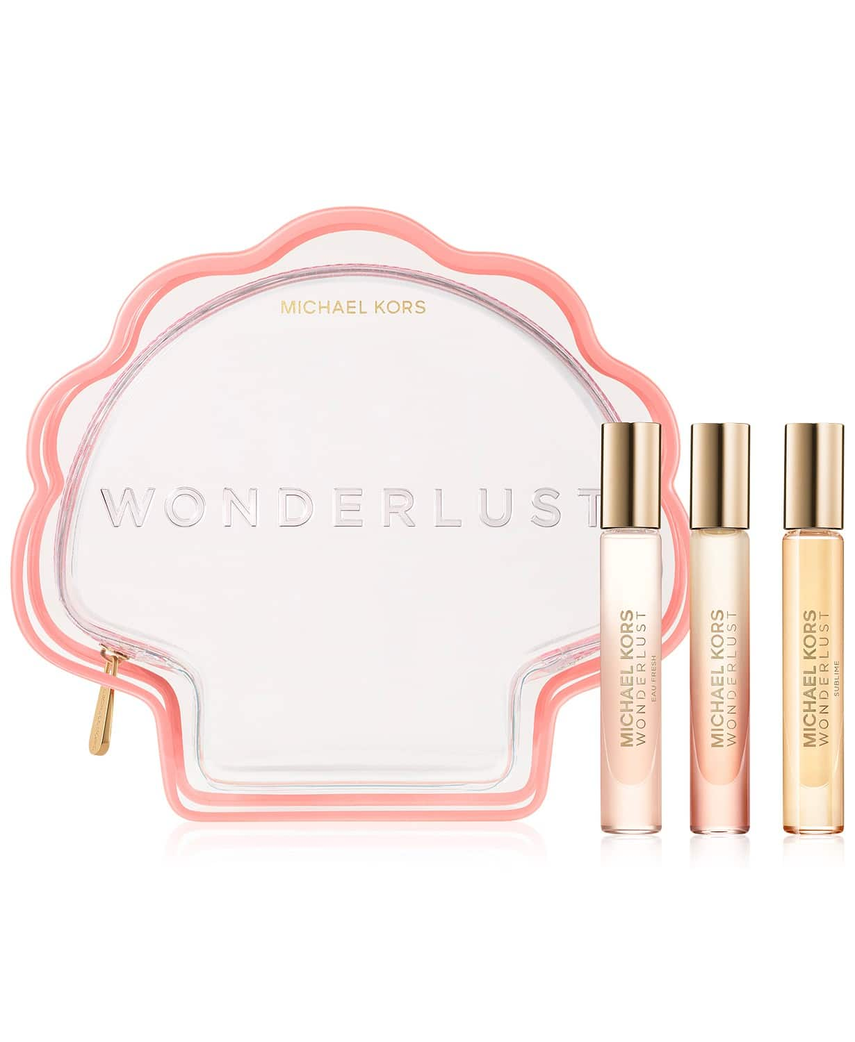 Explore a fresh scent for spring. This Wonderlust Discovery Set features the original Wonderlust Eau de Parfum, Wonderlust Eau Fresh Eau de Toilette, and the new Wonderlust Sublime Eau de Parfum, all presented in a whimsical shell pouch.