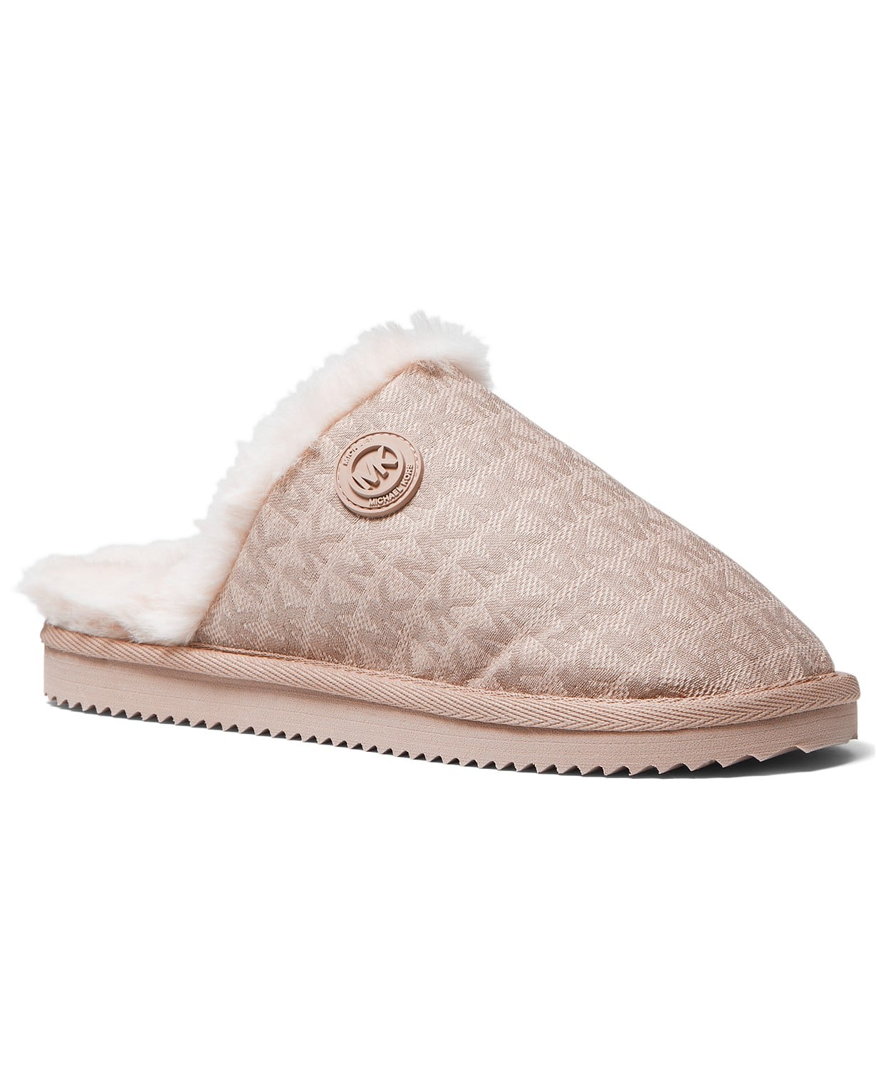 Cozy up indoors or out in the plush faux-fur and fresh textured detailing of the Janis scuff slippers from Michael Michael Kors.
