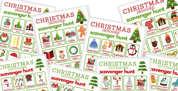 What can make the Christmas season even more festive? AChristmas Scavenger Hunt, of course! This free printable comes with both an indoor and outdoor scavenger hunt version.