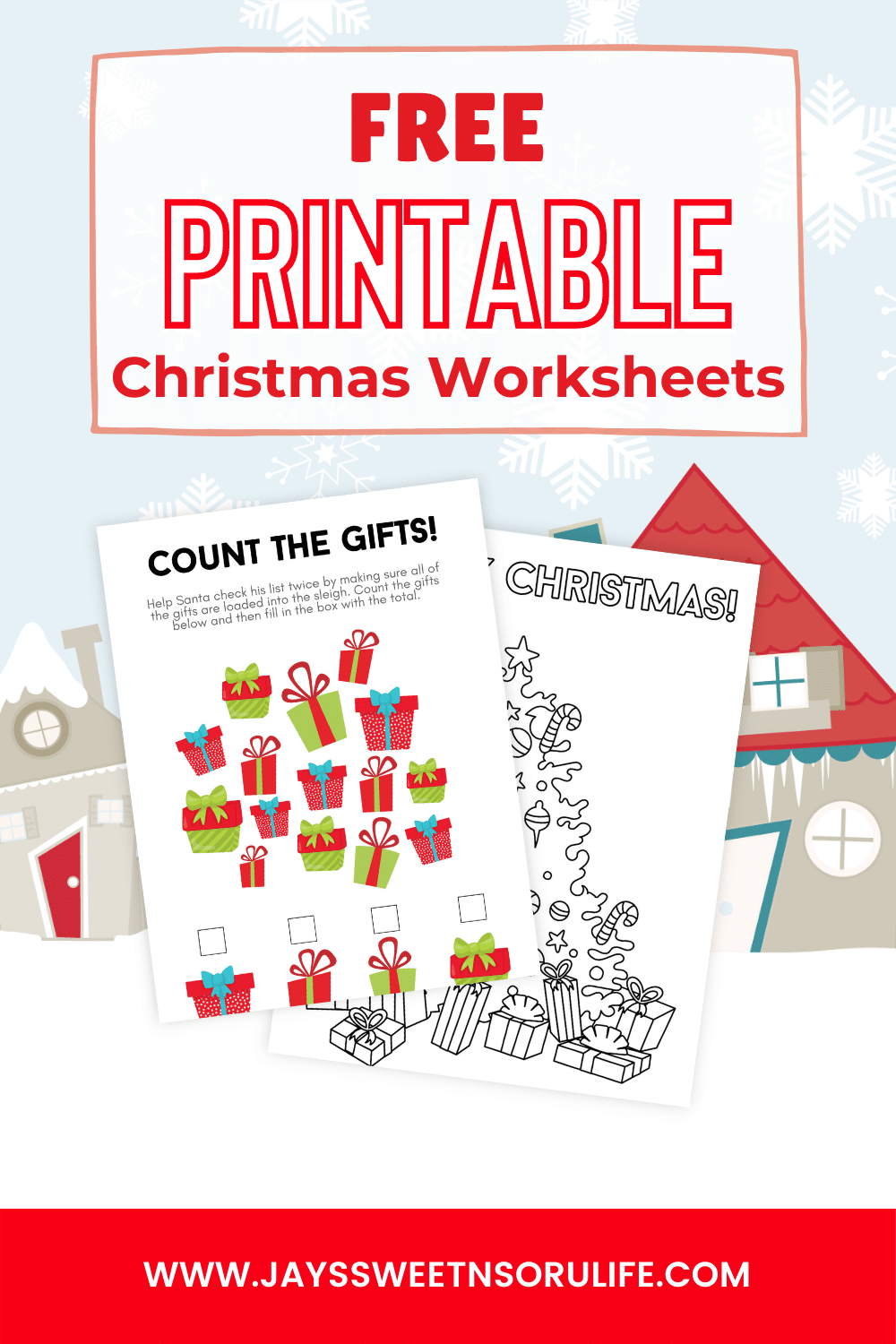 Grab these free printable Christmas worksheets, perfect for classrooms and Christmas parties. These fun Christmas printable worksheets include coloring pages, counting gifts, a Wordsearch, and a crossword puzzle.