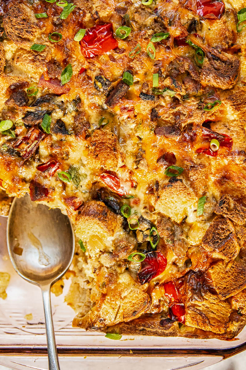 This overnight breakfast casserole chock full of vegetables, sausage, chorizo, and brioche is an incredible time-saver and such a treat. Make it this holiday season!