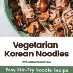 Vegetarian Korean Noodles. This simple and easy Vegetarian Korean Noodles dish is full of flavor and can be made in under 30 minutes. The Korean noodles are stir-fried in a savory sauce made with fresh vegetables such as mushrooms, red onion, ginger, garlic, and kale.