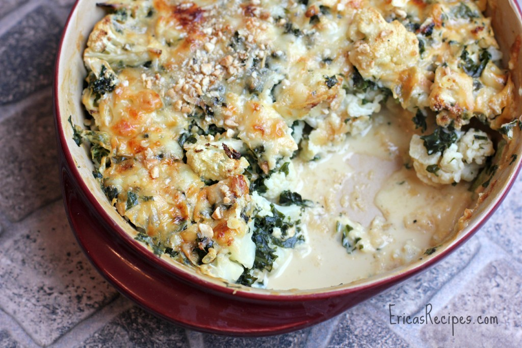 A delicious gluten-free dish that is packed with veggies and cheese, this cauliflower and kale gratin is sure to be a hit.