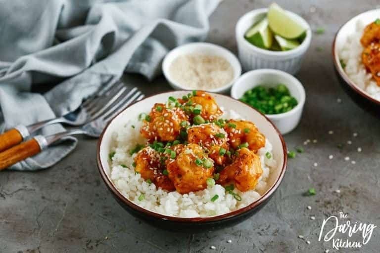Easy to make and full of flavor, this simple sticky sesame cauliflower will make the perfect side dish or party appetizer.