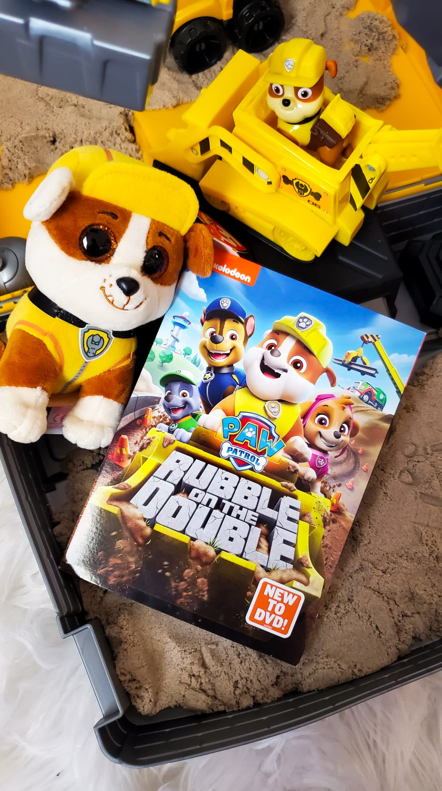 """Get ready to raise the """"woof"""" with Rubble and the rest of the PAW Patrol in nine new construction missions! Rubble and the PAW Patrol are ready to wreck-and-roll in PAW Patrol: Rubble on the Double, now available on DVD!"""