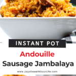 An authentic Instant Pot Andouille Sausage Jambalaya recipe that can be made in 30 minutes! This flavorful easy one-pan jambalaya recipe is made with andouille sausage, bell peppers, onion, celery, and spices. It's an instant family favorite recipe that is perfect for busy nights.