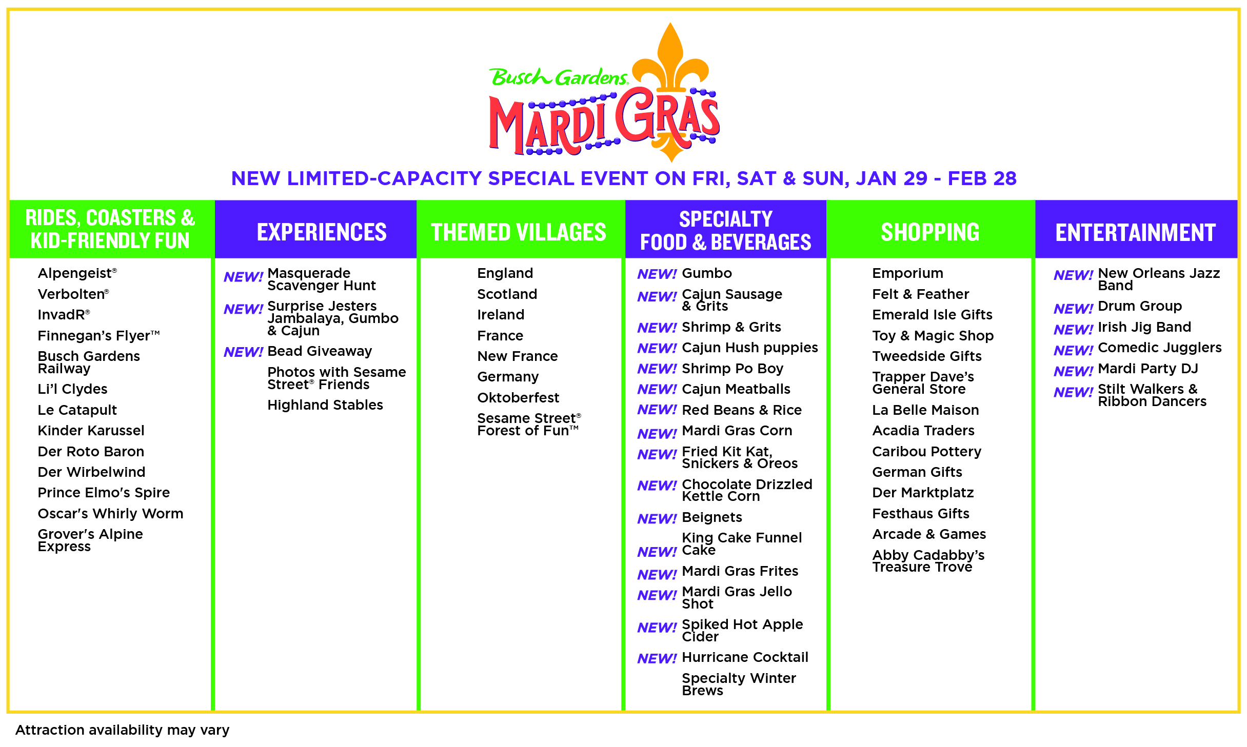 Mardi Gras Chart_Final. Enjoy the new Busch Gardens Williamsburg 2021 special events that offer socially distanced fun and entertainment all year long. Busch Gardens will be the place for all things fun, new, and safe in 2021.