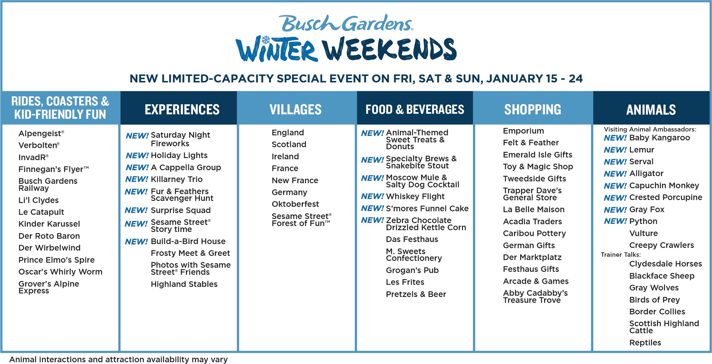 Winter Weekends Chart. Enjoy the new Busch Gardens Williamsburg 2021 special events that offer socially distanced fun and entertainment all year long. Busch Gardens will be the place for all things fun, new, and safe in 2021.