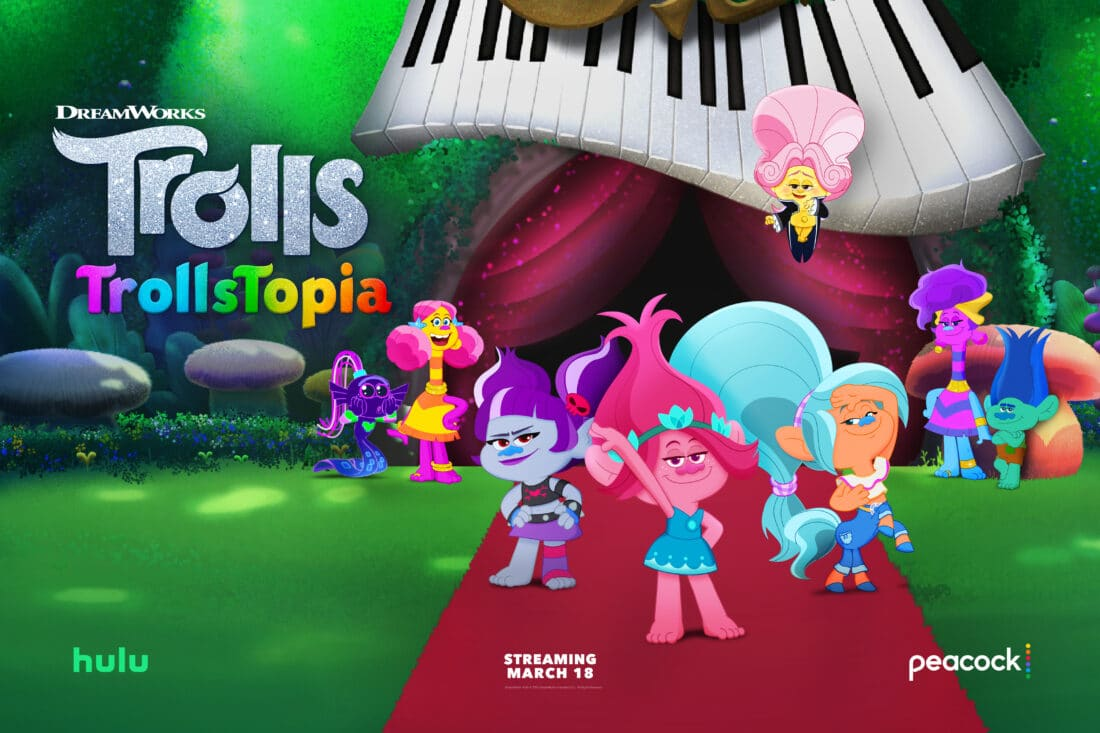 DreamWorks TrollsTopia Season Two shimmies onto Peacocktv and Hulu Today! Get ready for more glitter, glee and harmony with all 6 all-new episodes of DreamWorks TrollsTopia!