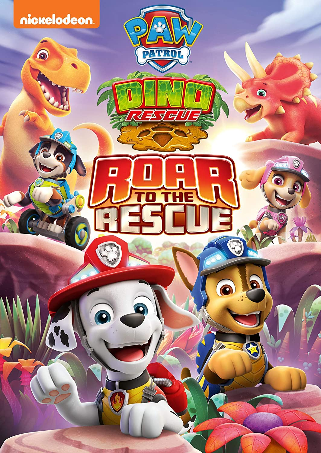 Get ready to return to the Dino Wilds for roaring rescues in the all-new DVD release. PAW Patrol: Dino Rescue Roar to the Rescue. Follow along As the PAW Patrol reunite with their prehistoric pals, they'll help a runaway Brachiosaurus, perform some dino-dentistry, stop a pie-clone, and more.