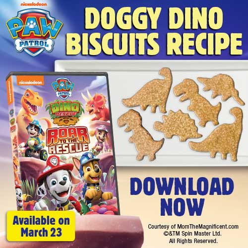 As any kid will tell you, everything is tastier when it's shaped like a dinosaur! In celebration of today's release of PAW Patrol: Dino Rescue Roar to the Rescue, available on DVD now, we're excited to share this easy recipe for Doggy Dino Biscuits.